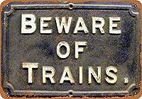 電車に注意してください2レトロな家の壁の装飾錫金属ギフトの装飾ヴィンテージプラーク