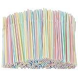 800 Pcs Pajitas de Plástico flexible,Pajitas para Bebida Desechables rayas, sin BPA, 8 Pulgadas -...