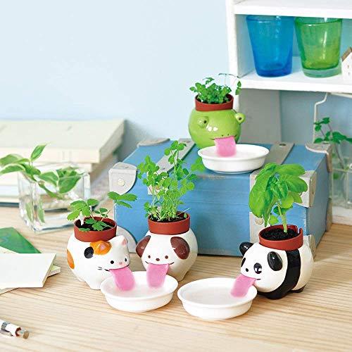 4Pcs Watering Animal Planter Self Watering Planter Drinking Animal Tongue Cute Style Ceramic Mini Backpack Plant Pot