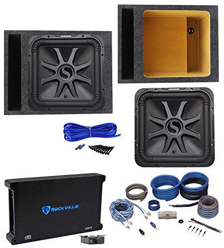 "KICKER 45L7R154 15"" 1800 Watt L7R Car Subwoofer+Vented Box+Mono Amplifier+Wires"