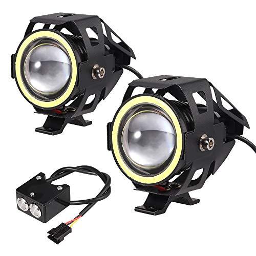 Faros Delanteras de Motocicleta U7 2Ps con Interruptor Dual Faros de Antiniebla para Moto LED 15W 3000 LM Faro Auxiliares IP65 Luces Adiccionales para Vehículos 12-24V Moto Bici Coche Camión