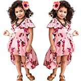 NoNoAnt Kids Girls Summer Sling Sweet Floral Dress Elegant Girl Princess Ruffles Irregular Culotte Dresses 3-8 Year (Pink, 3T)