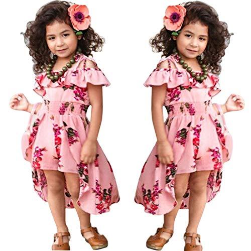 NoNoAnt Kids Girls Summer Sling Sweet Floral Dress Elegant Girl Princess Ruffles Irregular Culotte Dresses 3-8 Year (Pink, 5T)