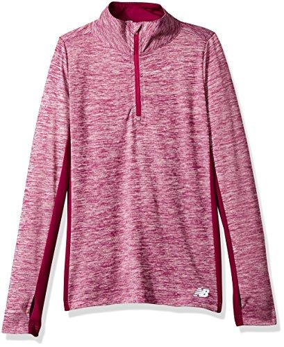 New Balance Mädchen 1/4 Zip Pullover Top T-Shirt, Maulbeere/Pink, 6X