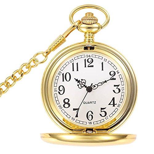 BestFire Vintage Glatte Quarz-Taschenuhr mit kurzer Kette für Männer Frauen -Geschenk zum Geburtstags-Jahrestag Weihnachts-Vater-Tag (Gold)