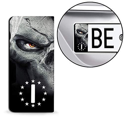 SkinoEu® 2 x Adesivi Vinile per Targa Stickers Bandiera Nazionale Italia Europa Identificazione Europeo IT Skull Teschio Cranio Auto Moto Tuning QV 24