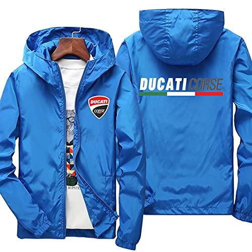 Herren Hoodie Mit Kapuze Jacken Für Ducati Print Langarm Oberbekleidung Dünne Winddichte Sweatshirts Lässige Reißverschluss Kleidungsmäntel Oberteile Blue-M