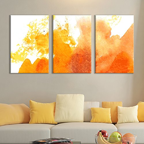 wall26 - 3 Panel Canvas Wall Art - Orange Colored Multi-Splattered Watercolor Painting - Giclee Print Gallery Wrap Modern Home Art Ready to Hang - 16'x24' x 3 Panels
