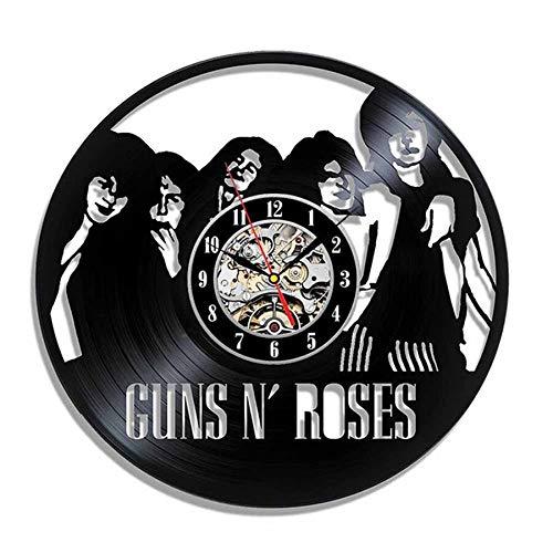 wtnhz LED-Guns Rose Vinyl Record Wall Clock Modern Design Music Theme Slash 3D Sticker Retro CD Clock Wall Clock Home Decoration