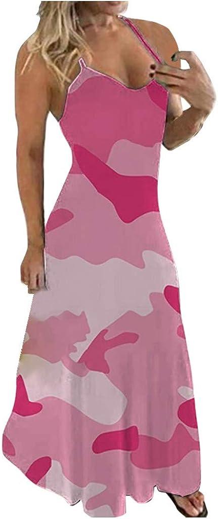 Women's Tie Dye Stiped Color Block Halter Neck Sleeveless Long Maxi Dress Casual Summer Cover Up Beach Tunic Tank Dress
