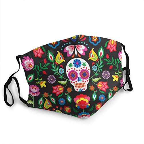 Mexican Sugar Skulls Day of The Dead Flowers Face Mask with Filter Pocket Washable Reusable Face Bandanas Balaclava