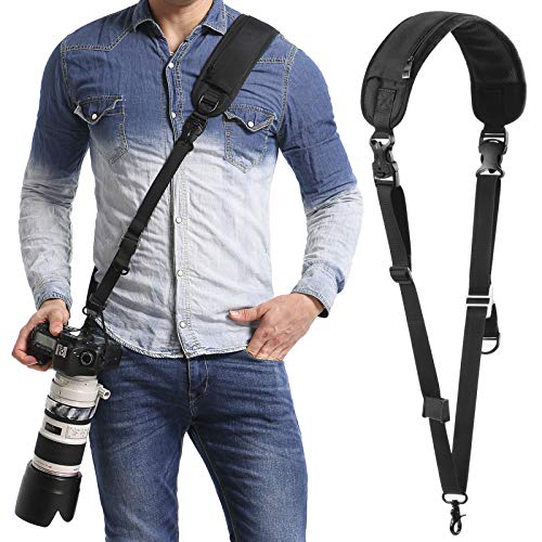 waka Rapid Camera Neck Strap with Quick Release and Safety Tether, Adjustable Camera Shoulder Sling Strap for Nikon Canon Sony Olympus DSLR Camera - Black