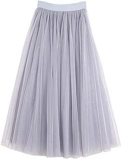 Women's Midi Tulle Skirt Elastic Waist 3 Layered Mesh Formal Prom Party Tutu Skirt A Line