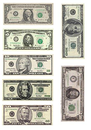 A4-Esspapier mit Dollarschein-Motiven, 7 verschiedene Dollar-Scheine