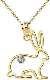 Fashion 14k Gold Diamond Bunny Rabbit Pet Outline Pendant Necklace