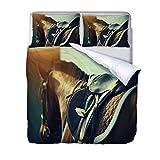 Copripiumino Set, Modello Cavallo Set Copri Piumino Stampa Animali 3D,Set Biancheria da Letto per Letto Matrimoniale 200 * 200CM con 2 federe.