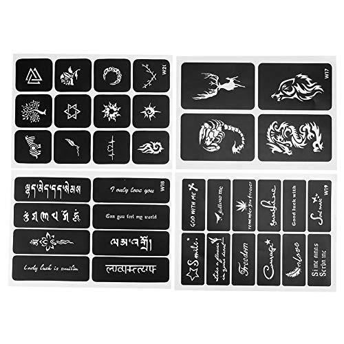 Modèles de tatouage, petit pochoir de tatouage réutilisable, pochoir de tatouage semi-permanent temporaire pour Body Art Paint 4pcs