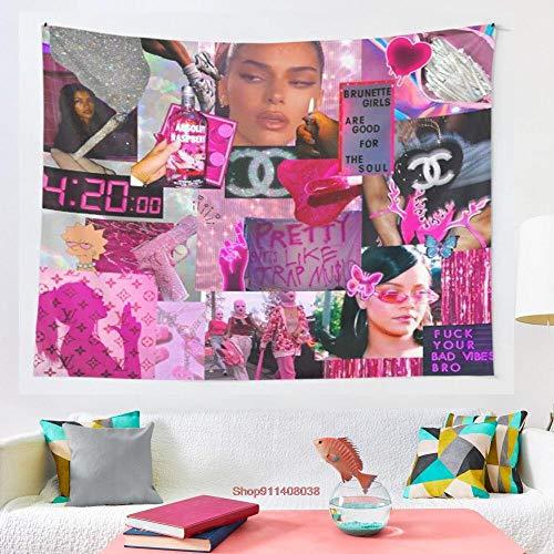 Tapiz de fiesta rosa psicodélico colorido para colgar en la pared, decoración de dormitorio, esterilla de yoga