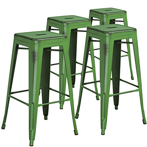 Flash Furniture Commercial Grade 4 Pack 30″ High Backless Distressed Green Metal Indoor-Outdoor Barstool