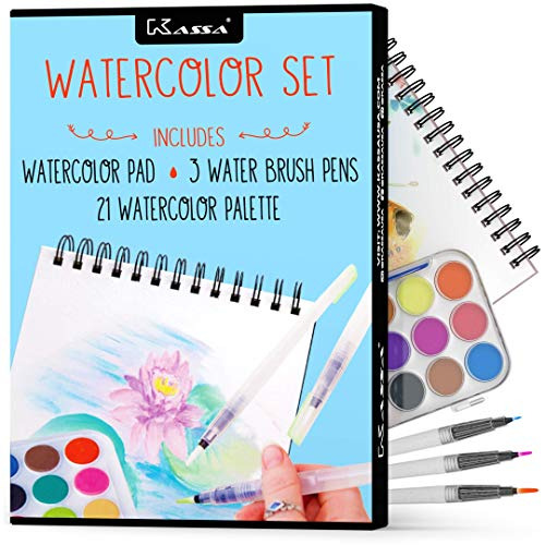 Kassa Watercolor Set - Painting Kit for Kids & Adults - Bundle Includes Water Brush Pen (3 Assorted Sizes), Water Color Paper (30 Sheets) & Watercolor Paint Set (21 Colors)