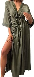 Fitfulvan Womens Beachwear Lace Tops Side Split Bikini Cover Up Srappy Swimwear Kaftan Sexy Long Cardigan Tops