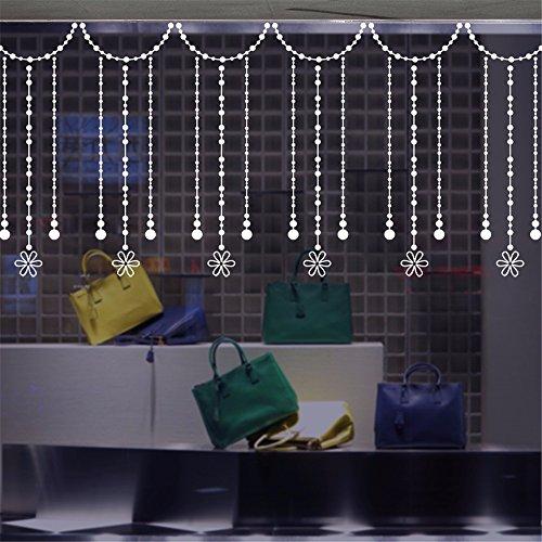 ZRDMN muursticker kralen gordijn raam badkamer glazen stickers balkon ramen schuifdeur kloppen, decoraties, 35 * 50 cm kunst muurschilderingen voor slaapkamer woonkamer kantoor familie kinderkamer badkamer keuken