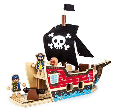 Small Foot 9538 Bausatz-Piratenschiff aus Holz, mit Zwischendeck für die Gefangenen, Totenkopf-Segel, Kanone