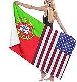 Toalla De Playa Microfibra,Portugal Y Bandera Americana Toalla De Playa Ligera Viajes Familiares En Hoteles Natación Deportes De Fitness