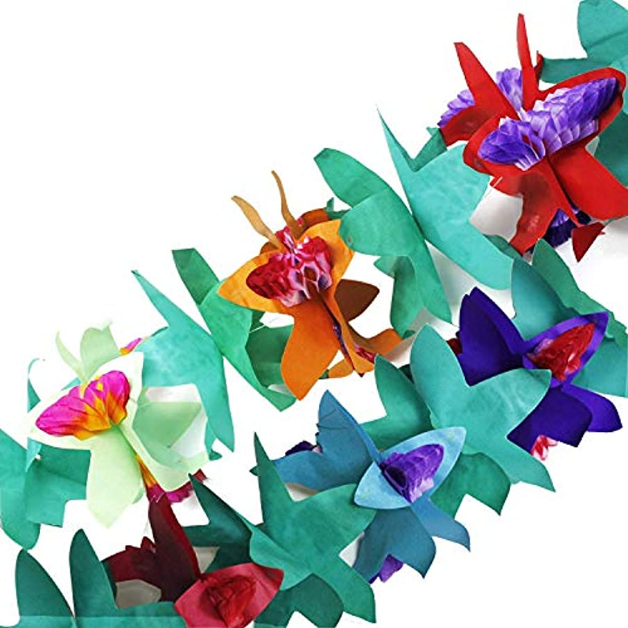 Fun Central BC559 1 Piece 7 Inch Tissue Flower Garland, Holiday Garland, Paper Garland, Luau Party Decorations, Party Garland, Party Decorations Garland, Fake Flowers, Flower Decor - Multicolor