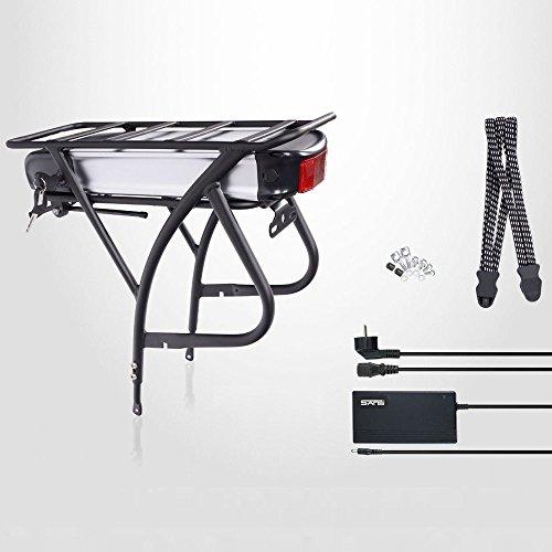 'E-Bike, Pedelec, Bicicletta elettrica batteria Kit, 26'-28,48V 13AH (624wh) per bici, Portapacchi Kit di conversione, con caricatore, Argento/Nero