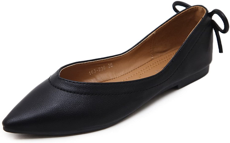 AdeeSu Womens Bows No-Closure Pointed-Toe Urethane Flats shoes