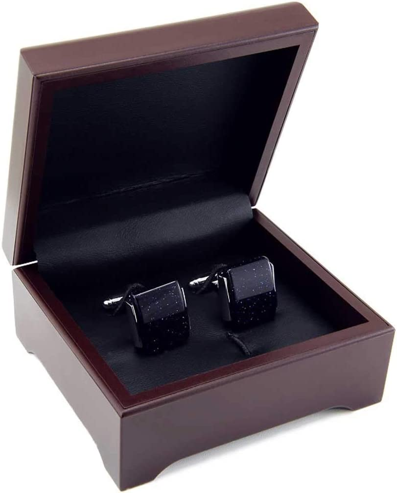 HXF Clean Dark Blue Square Star Stone Cufflinks French Cufflinks Men's Cufflinks Business Casual Shirt DM Neat
