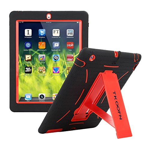 TKOOFN Shockproof Bumper iPad Case Cover with Built in Stand for iPad 2 / iPad 3 / iPad 4 + Screen Protector + Stylus + Cleaning Cloth, Black/Red