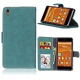 Funda Sony Xperia Z3 L55T L55U ,Bookstyle 3 Card Slot PU Cuero cartera para TPU Silicone Case Cover(Azul)