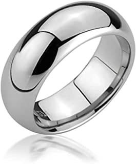 Plain Simple Dome Couples Titanium Wedding Band RingsforMen for Women Polished Silver Tone Comfort Fit 6MM