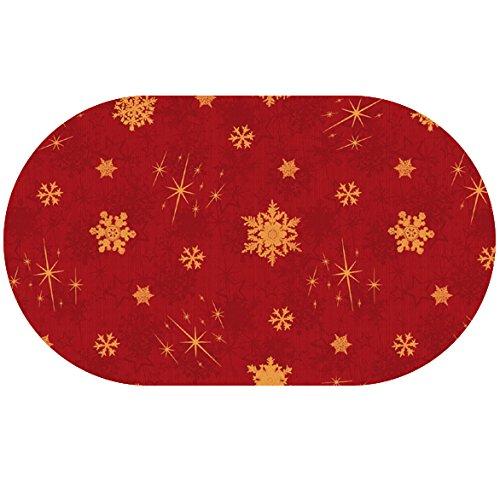 DecoHomeTextil Wachstuch LFGB Schneeflocken Glatt RUND OVAL Oval 140 x 180 cm Rot abwaschbare Tischdecke Weihnachten