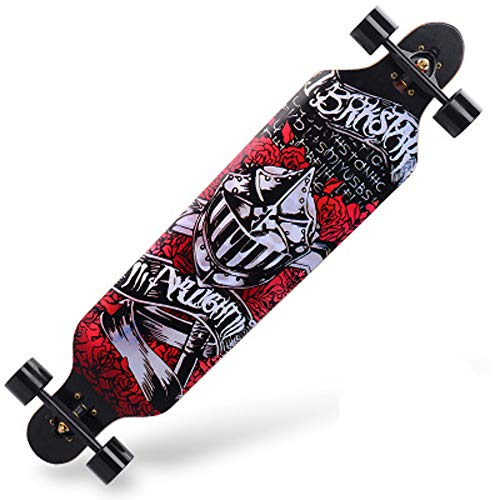 Fengyj 40 Inch Longboard Skateboard Komplettboard Drop-Through Cruiser Board Mit ABEC 11 High-Speed Kugellager Kapazit?T: 200Kg,Warrior