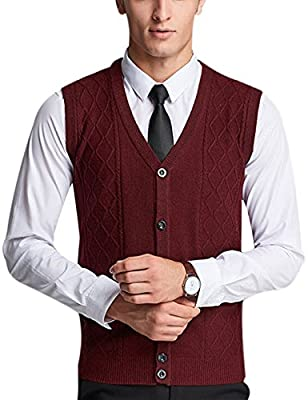 Yeokou Men's Wool V Neck Sleeveless Knitted Button Down Sweater Vest Waistcoat (Large, Wine Red) by