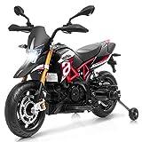 COSTWAY Kinder Motorrad mit Stützrädern, Elektro-Motorrad mit LED-Lichter und Musik, Kindermotorrad bis 25kg belastbar, geeignet für Kinder ab 3 Jahre