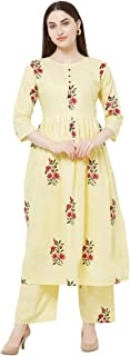 Anni Designer Women's Cream Color Cotton Kurti With Palazzo Pant Set (RASAM-CREAM)