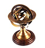 Ares India 5 Nautical Brass Armillary Sphere World Globe Rosewood Base Table Decor Gift