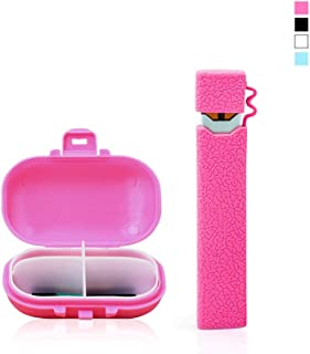 OrangeDance Case for Juul,Anti-Slip Silicone Skin Cover Sleeve Wrap Gel Fits JUUL,with Portable Accessory Box Suitable for pods and Chargers(Pink-V2)