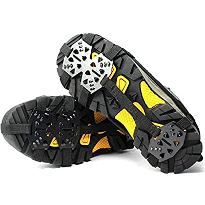 Puoyis Walk Traction Ice Snow Cleats Crampons for Shoes Boots, Shoes Spikes Anti Slip Traction Grips for Winter Hiking Fishing Walking Climbing Jogging Mountaineering