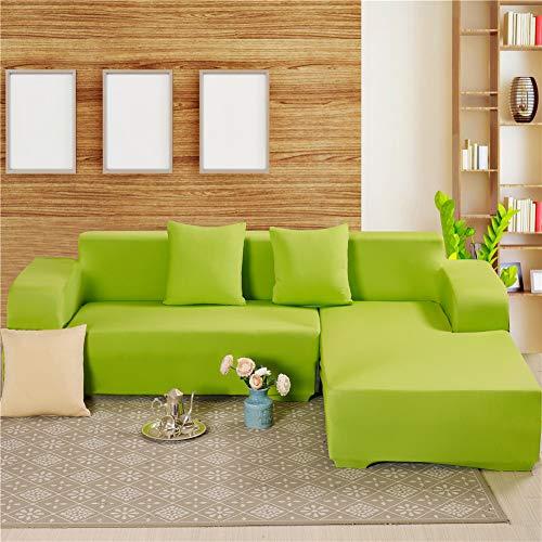 Fansu Elastischer Sofabezug Einfarbig, Stretch Couchbezug Sesselbezug Elastischer Antirutsch Stretchhusse Weich Stoff Sofabezug Möbelschutz (4 Sitzer 235-300cm,Grün)
