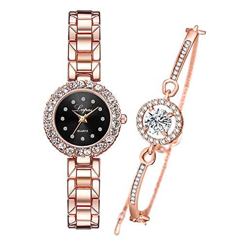 kowaku Conjunto de Pulsera Y Reloj Rosa Brazalete Reloj de Cuarzo Reloj de Pulsera Joyería Regalo