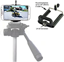 Cell Phone Tripod Adapter - Compatible with iPhone Tripod Mount SE 6 6S Plus 5 5S 5C 4 4s Clip Holder Connector Stand Bracket Head Smartphone Attachment Samsung Galaxy S7 S6 S5 S4 S3 S2