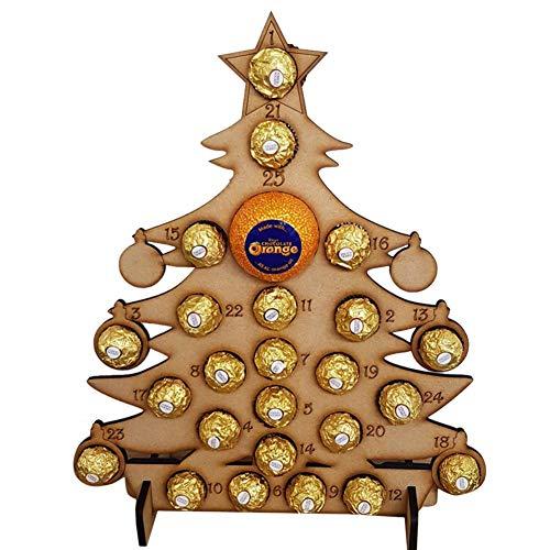 hinffinity Noël Calendrier De Lavent À La Main en Bois Creux Compte À Rebours Arbre De Noël Chocolat Stand Notes Rappelant Carte, pour La Décoration De Noël