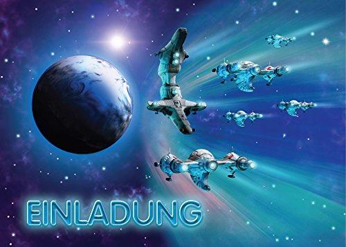 JuNa-Experten 12 Einladungskarten Kindergeburtstag Jungen Space Jungs Raumschiff Geburtstagseinladungen Einladungen Geburtstags-Party Kartenset