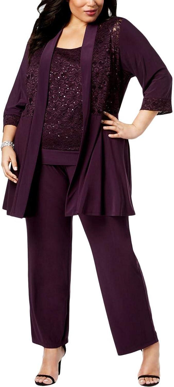 R&M Richards Womens Womans Mock Top Lace Pant Set Cocktail Dress