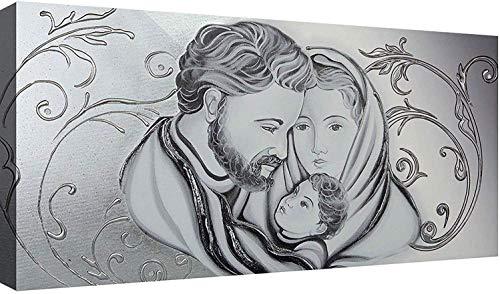 OGGETTANDO Capezzale Sacra Famiglia 02 Quadri Moderni Soggiorno Stampa su Tela Camera da Letto. (Silver, 120x60 cm)